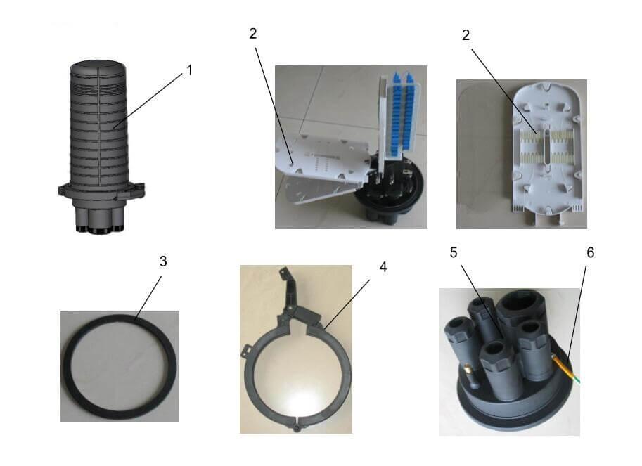 fiber optical dome closure components - Fibre Optical Dome Type Closure Installation